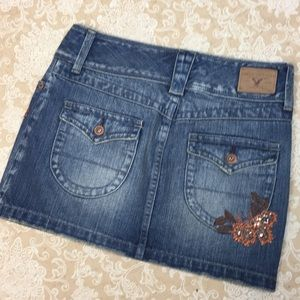American Eagle Outfitters Skirts - American Eagle Denim Distressed Embroidered Skirt